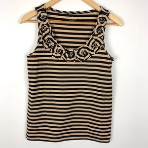 Kate Spade NY Striped Sleeveless Top Floral Neck M